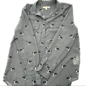 Banana Republic Boston terrier blouse